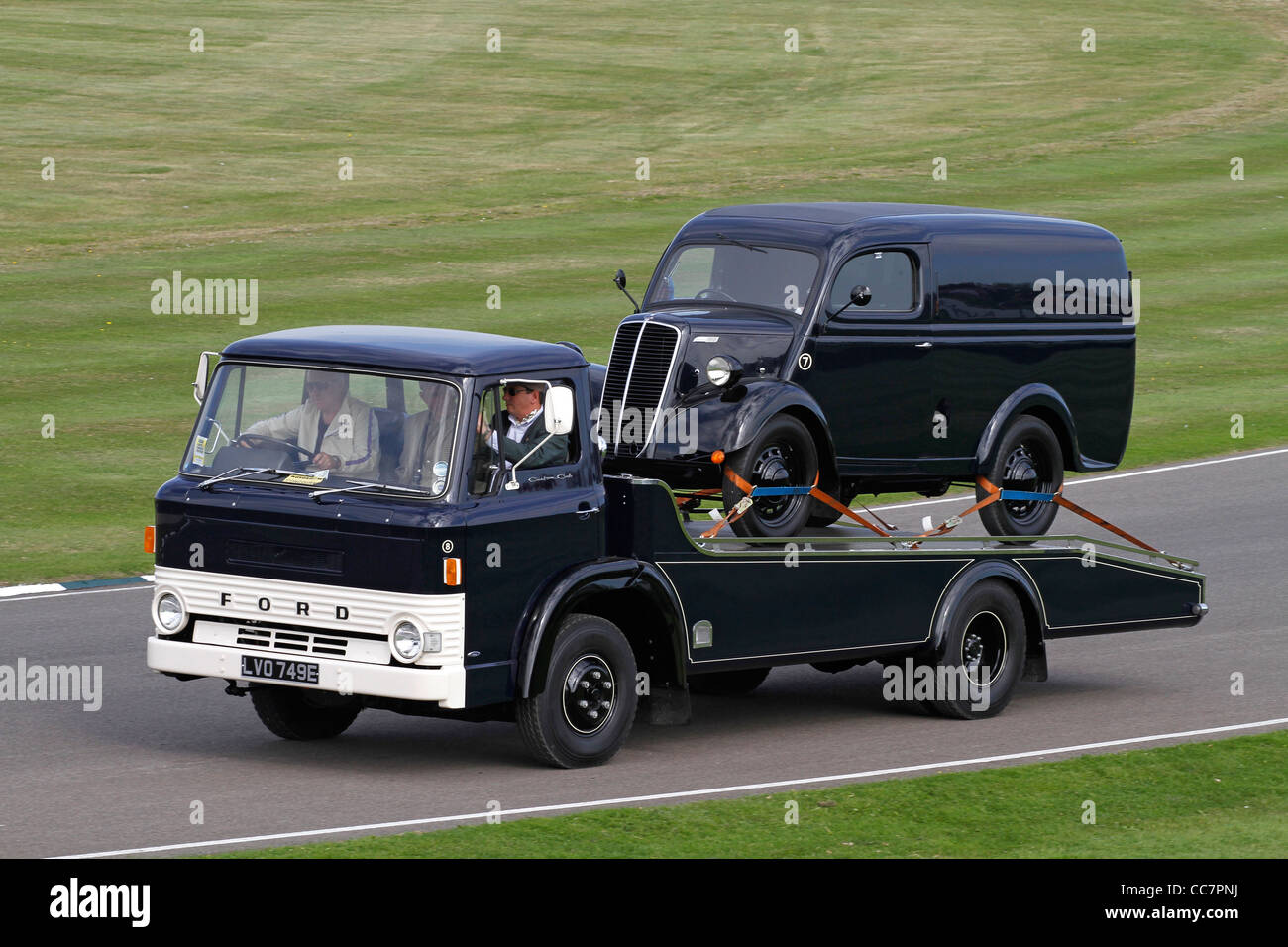 1967 Ford D300 lowloader with van. 2011 Goodwood Revival meeting, Sussex, UK. - Stock Image