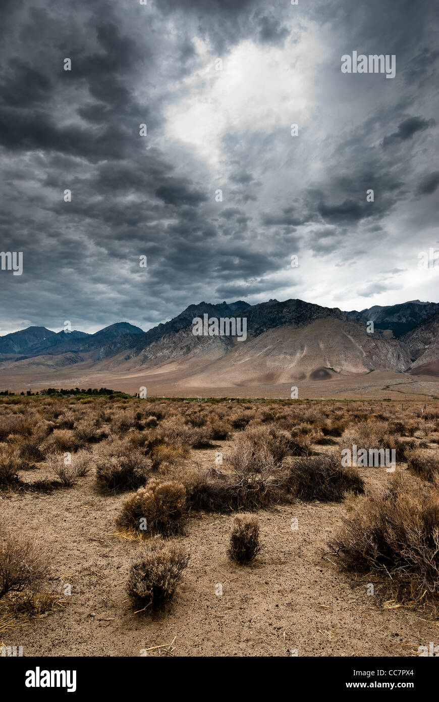 dark clouds in death valley national park, nevada, usa - Stock Image