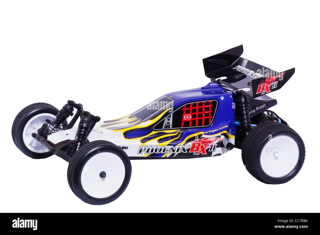 A radio controlled Phoenix BX off road buggy car on a white background - Stock Image
