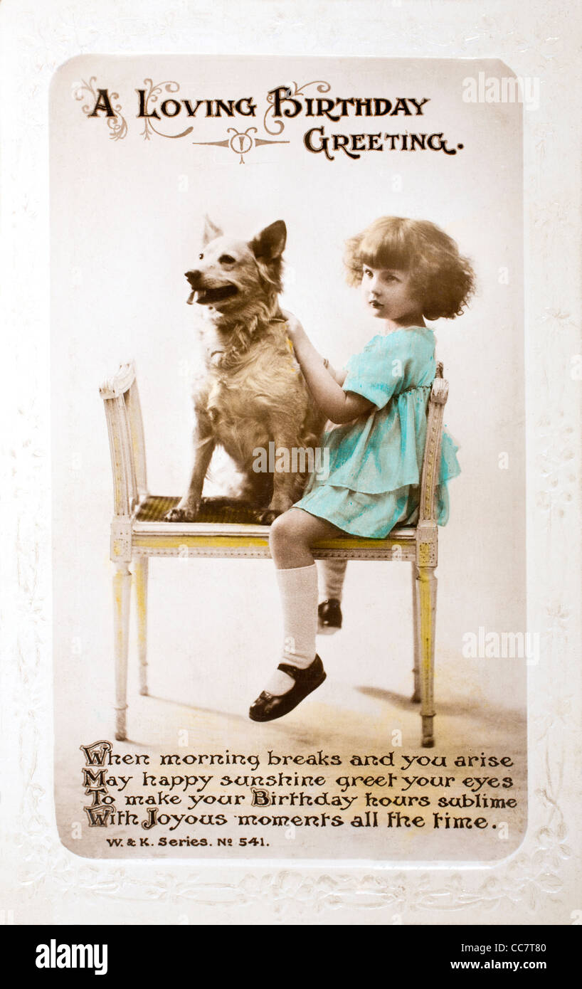 1920s Birthday Card In The Form Of A Postcard Hand Painted Image Girl With Dog