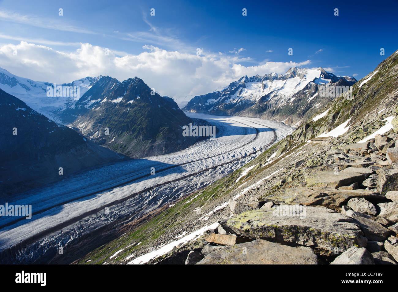aletsch glacier from breithorn, valais switzerland - Stock Image