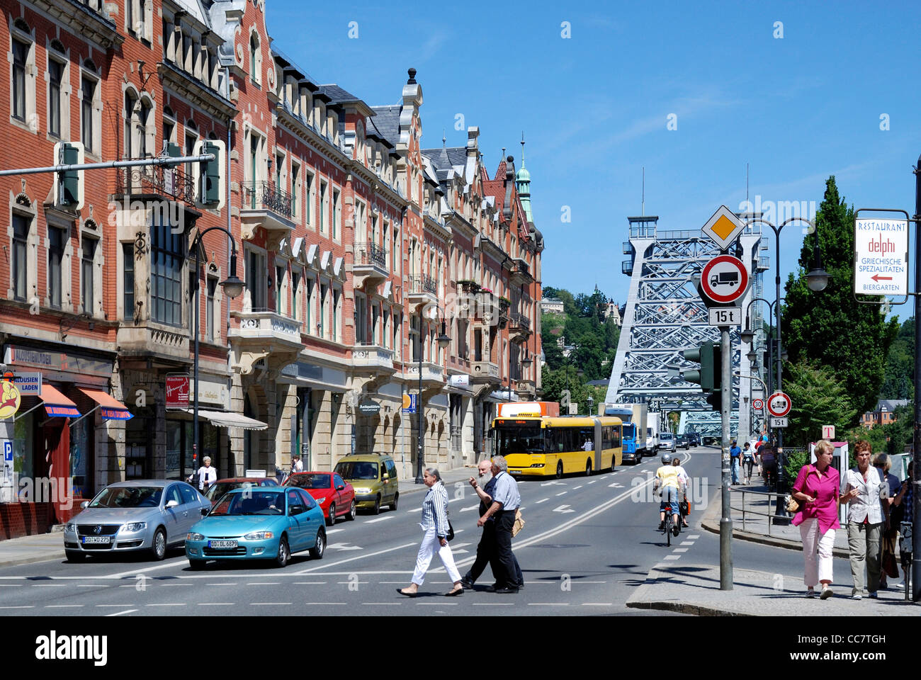 Street scene with residential buildings at the Schiller place in Dresden. - Stock Image
