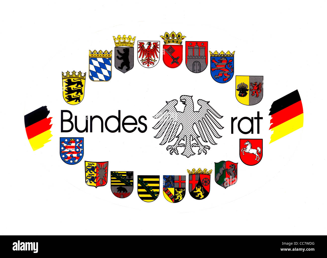 Logo of the Bundesrat with the coats of arms of the 16 German Federal States. - Stock Image