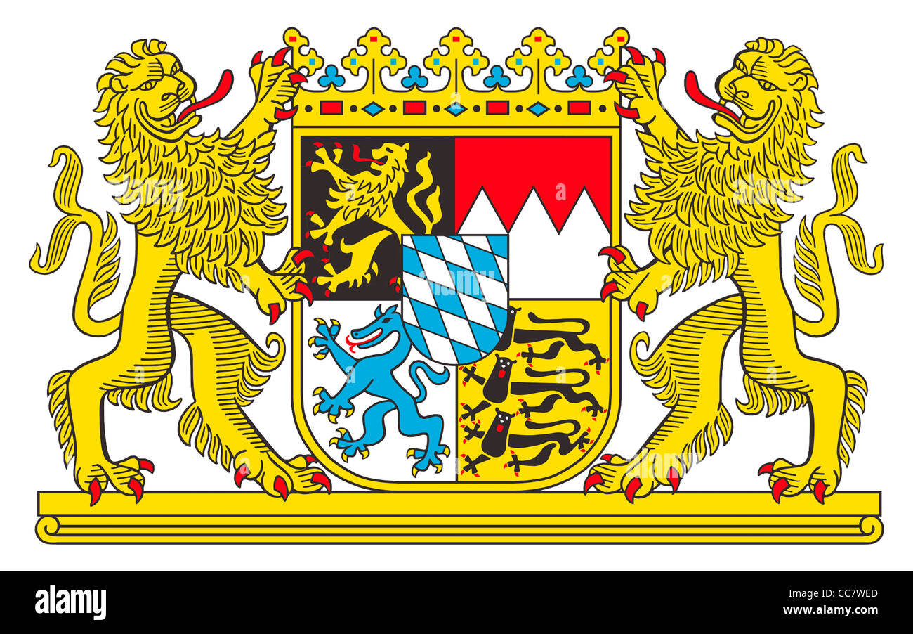 Coat of arms of the Free State of Bavaria. - Stock Image