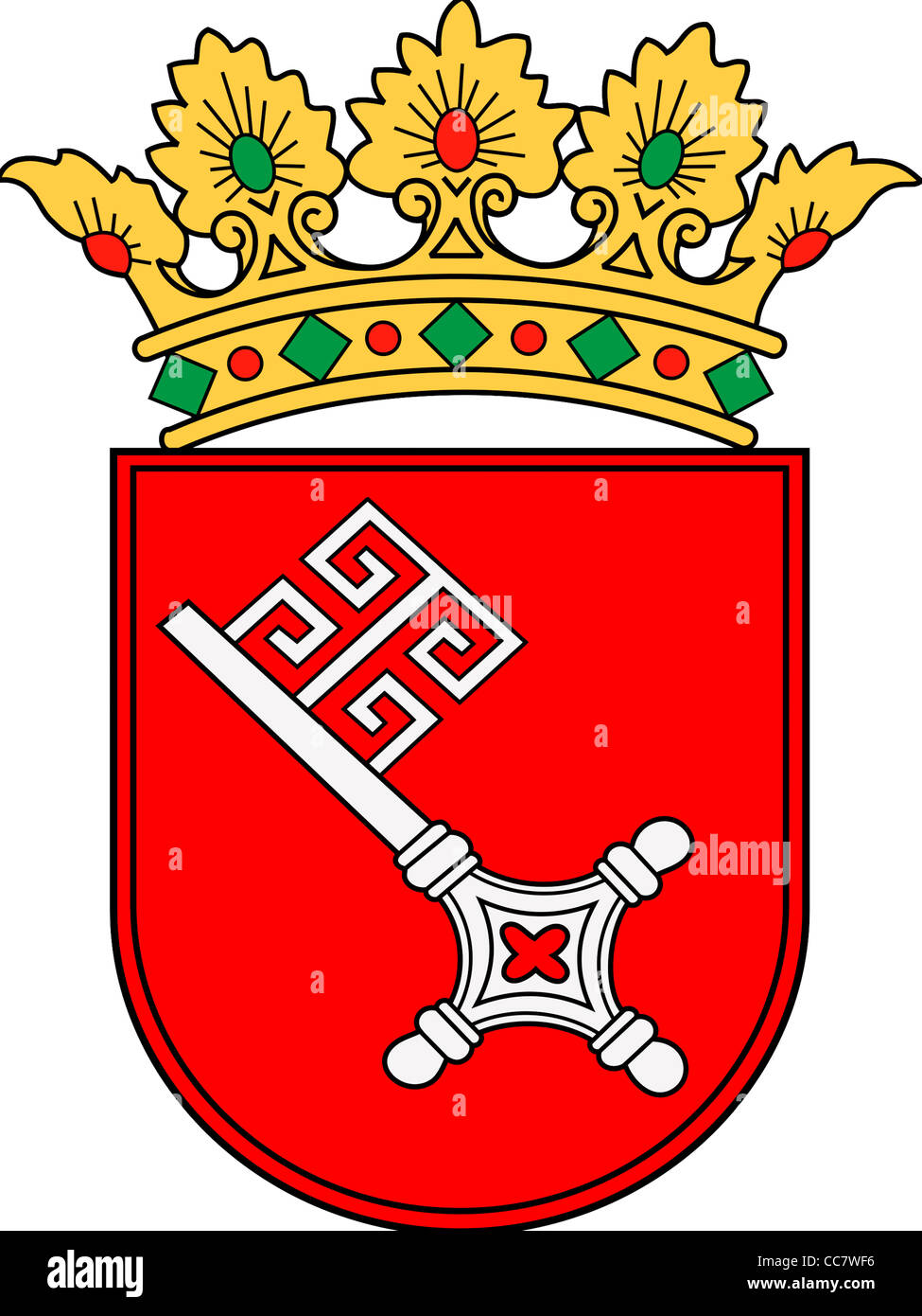 Coat of arms of the Hanseatic town Bremen. - Stock Image