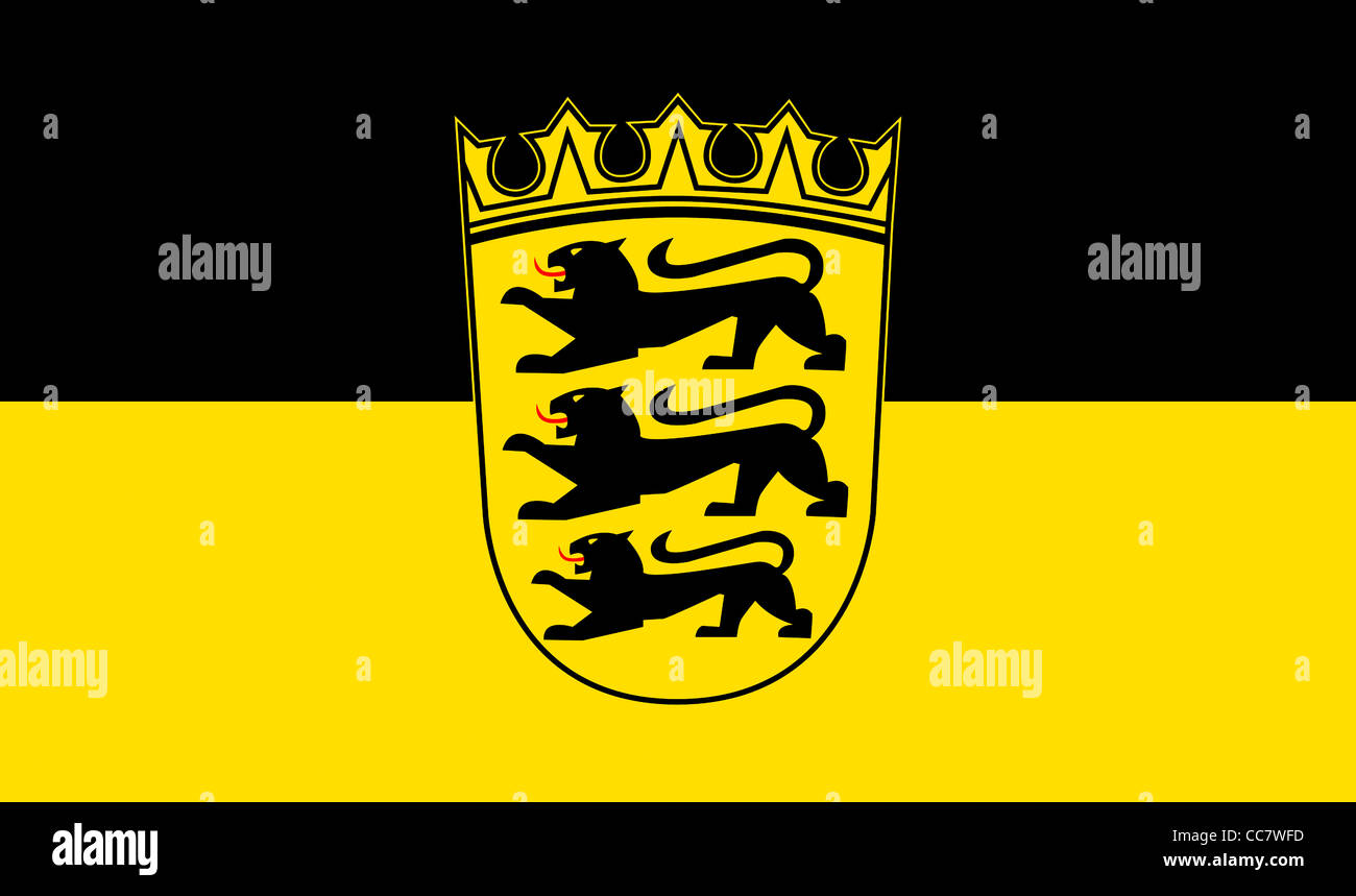 Flag of Baden Wurttemberg with the coat of arms of the German federal state. - Stock Image