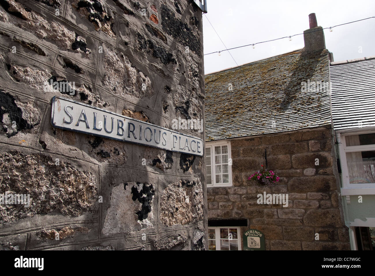 Salubrious Place sign in St.ives Cornwall. - Stock Image
