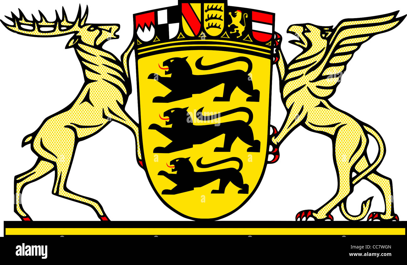 Great coat of arms of the German federal state Baden Wurttemberg. - Stock Image