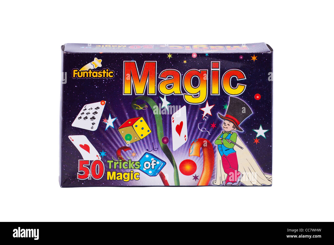 A box of 50 magic tricks on a white background - Stock Image