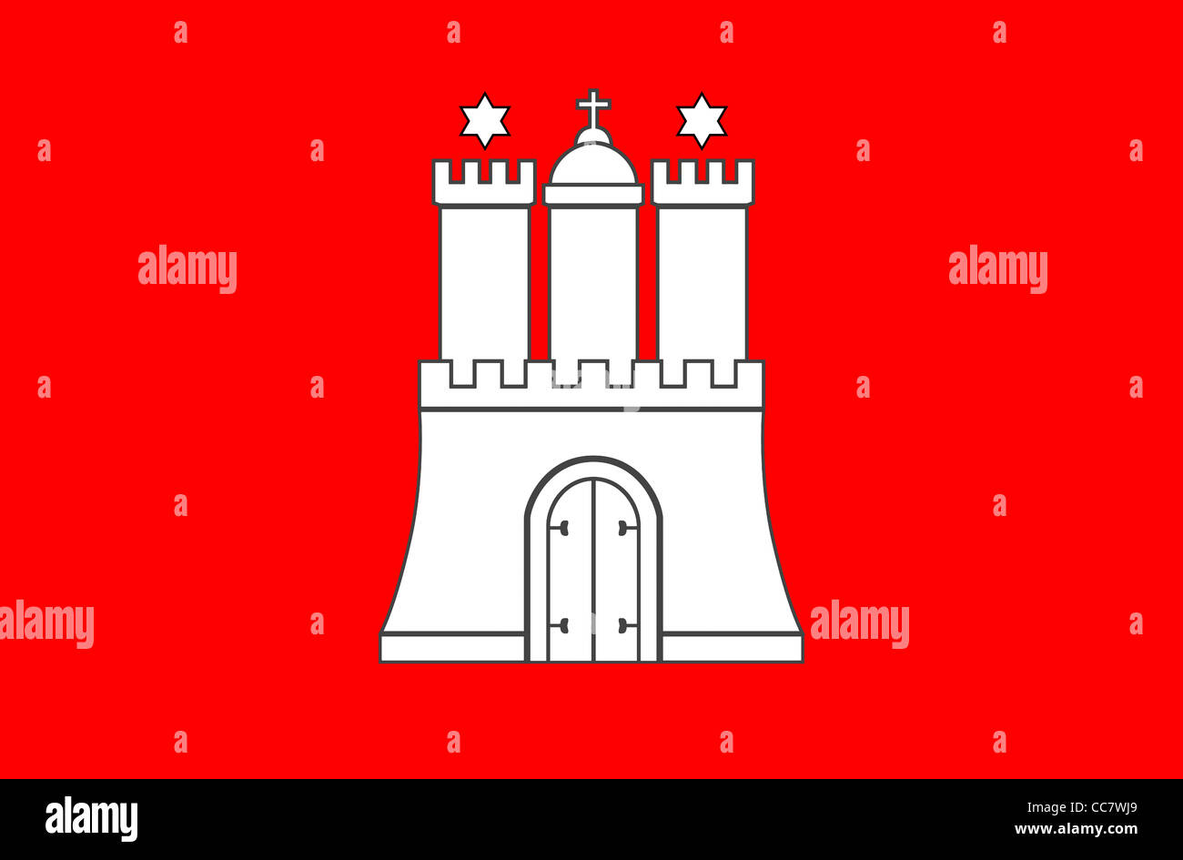Flag of the Hanseatic town Hamburg. - Stock Image