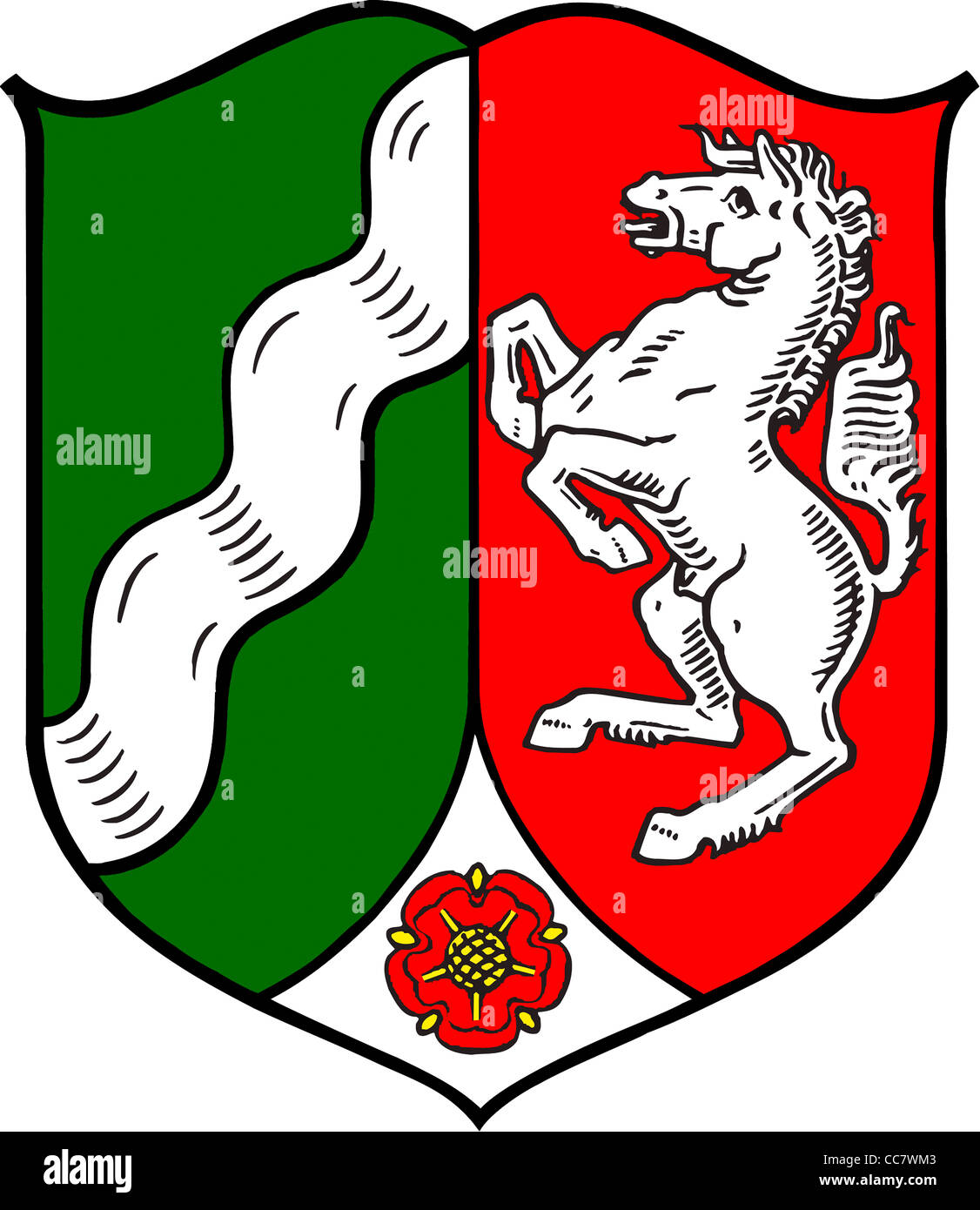 Coat of arms of the German federal state North Rhine Westphalia. - Stock Image