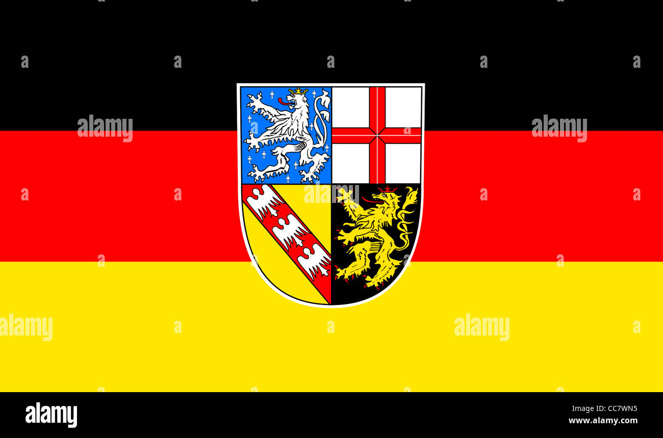 Flag of the Saarland with the coat of arms of the German federal state. - Stock Image