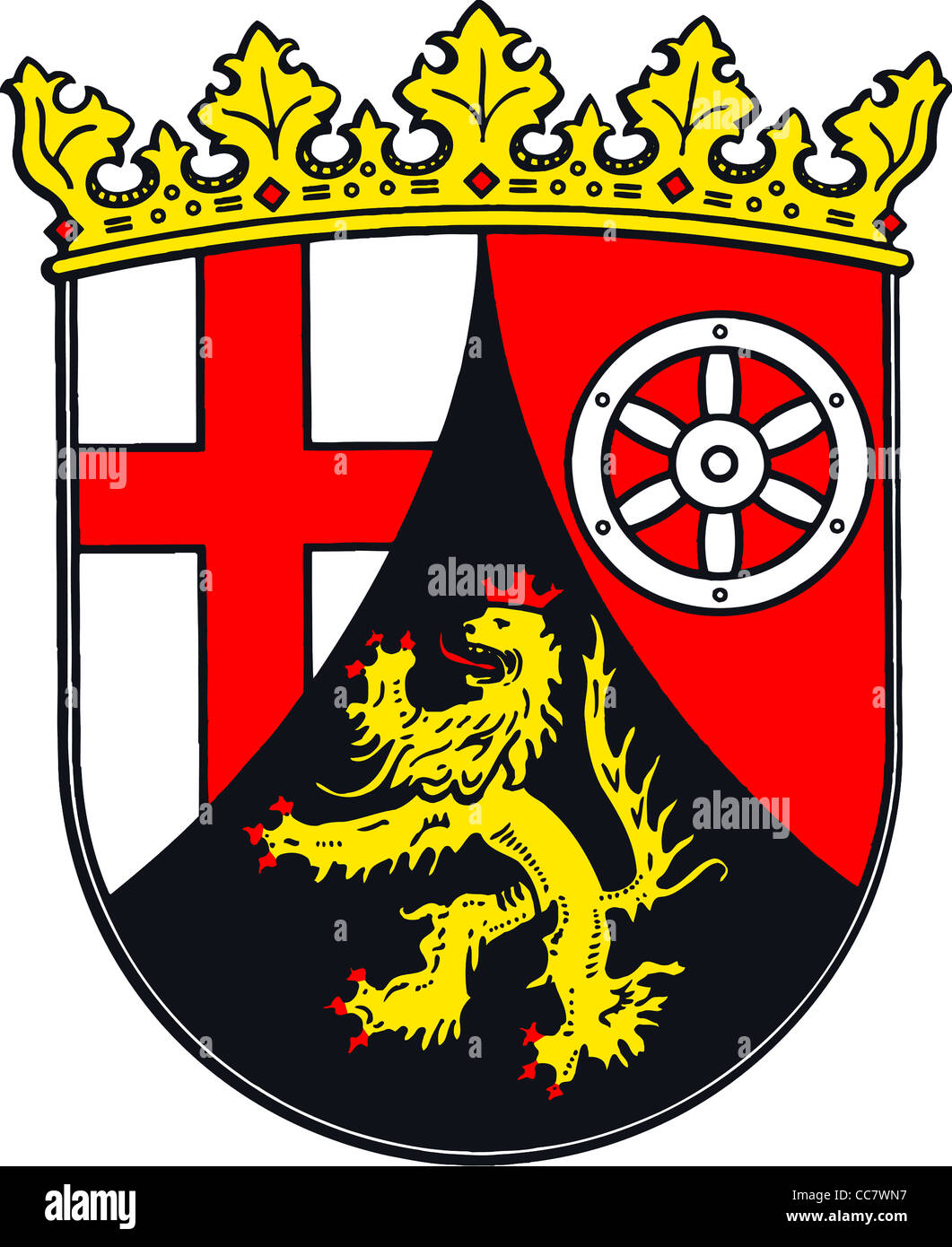 Coat of arms of the German federal state Rhineland Palatinate. - Stock Image