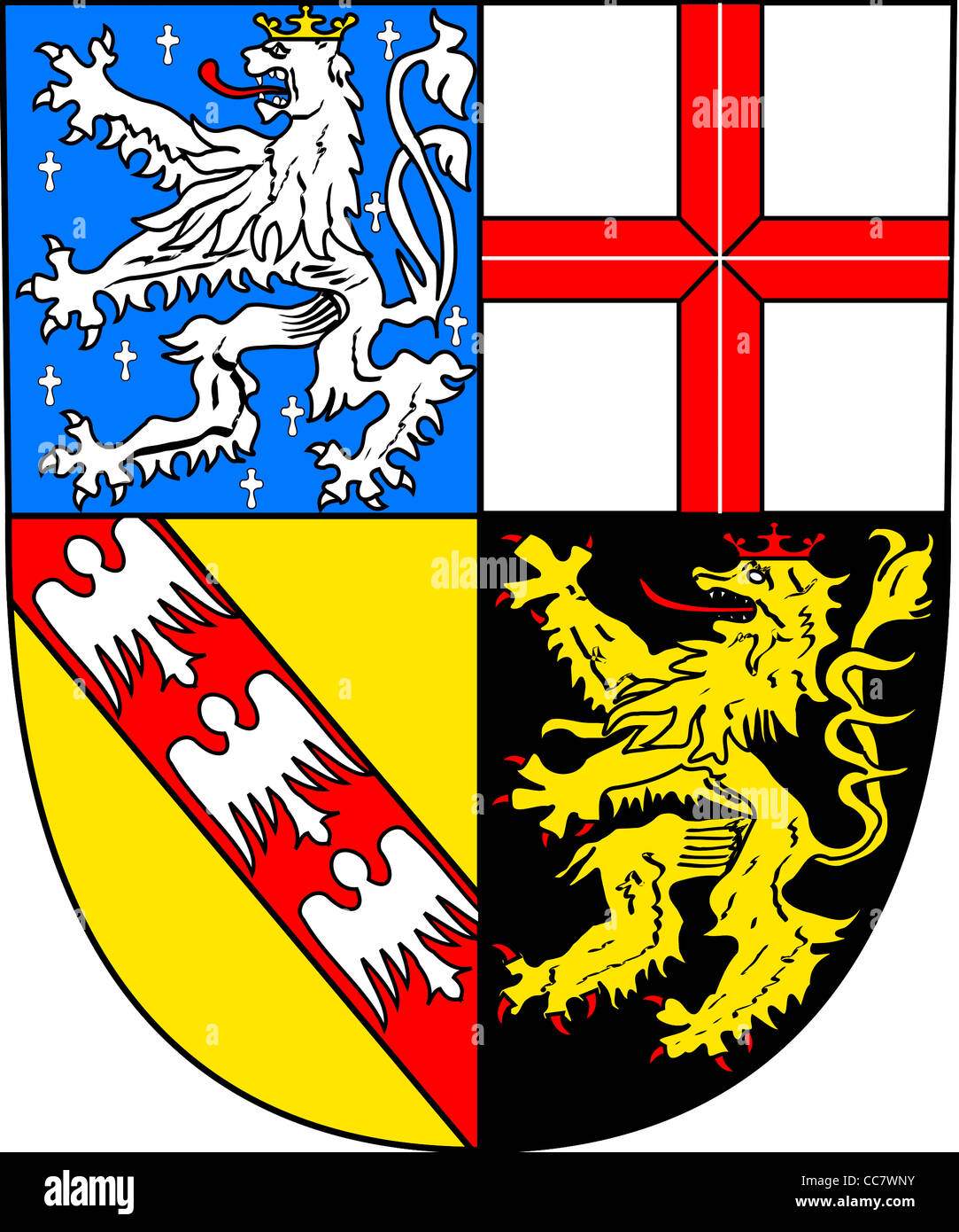 Coat of arms of the Saarland. - Stock Image