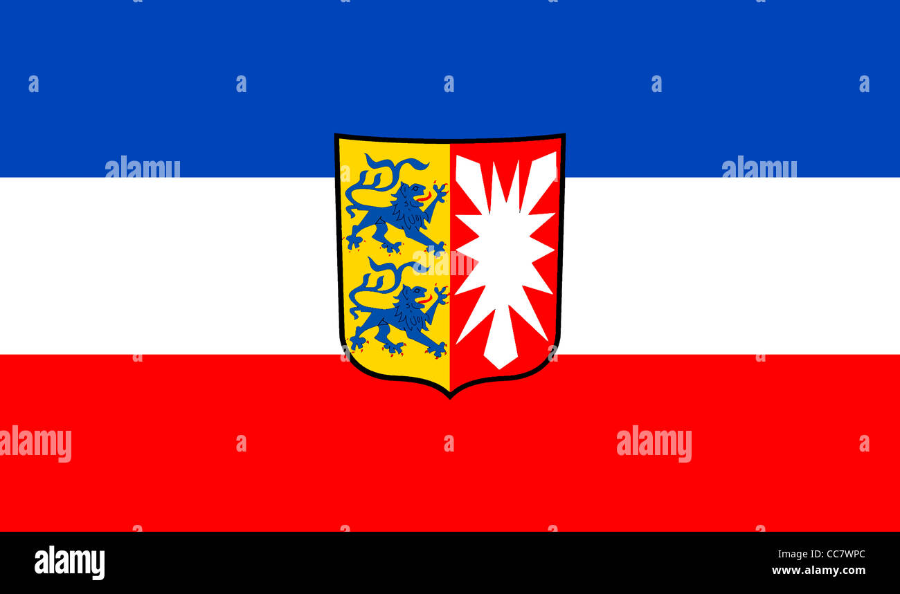 Flag of Schleswig Holstein with the coat of arms of the German federal state. - Stock Image