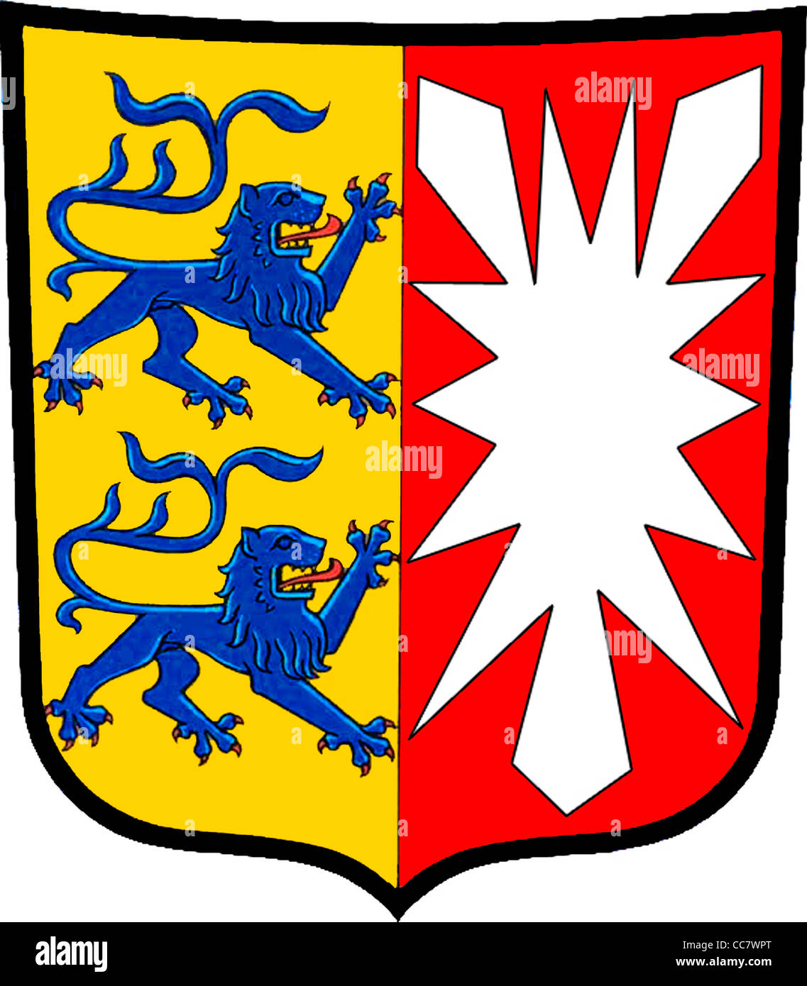 Coat of arms of the German federal state Schleswig Holstein. - Stock Image