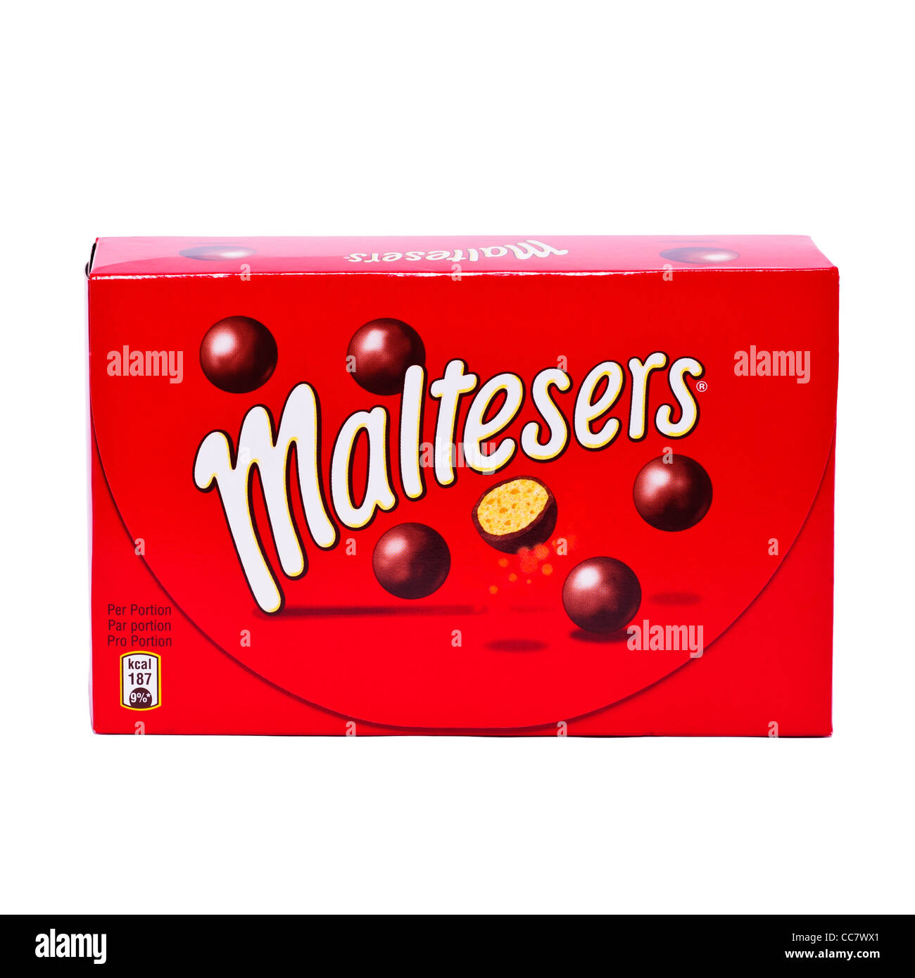 A box of chocolate Maltesers on a white background - Stock Image