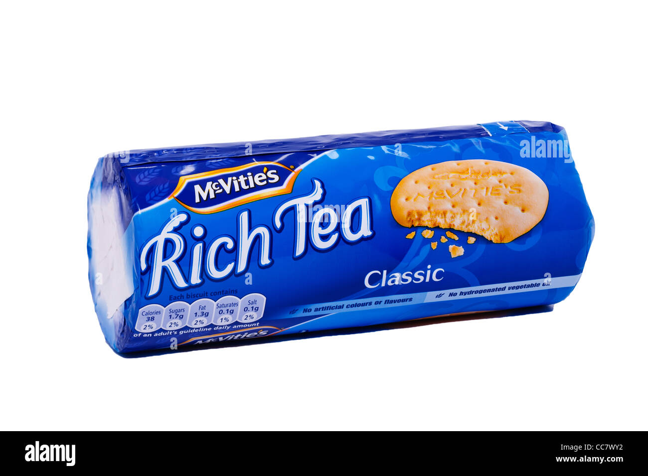 A packet of Mcvitie's rich tea biscuits on a white background - Stock Image
