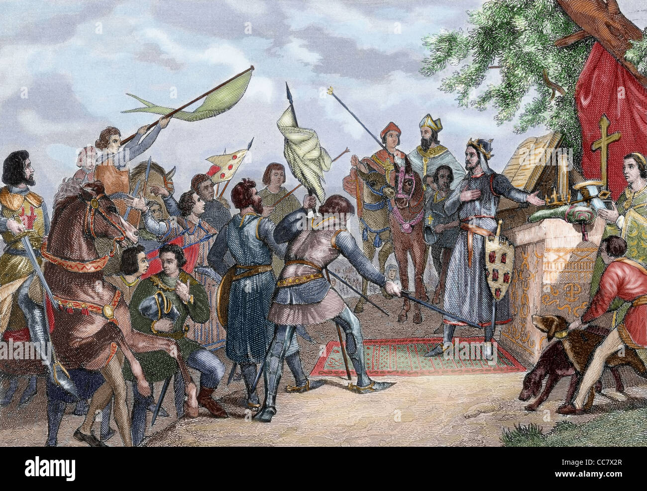 History. Spain. Day before of the Battle of Las Navas de Tolosa (1212) in which Alfonso VIII of Castile defeated Stock Photo