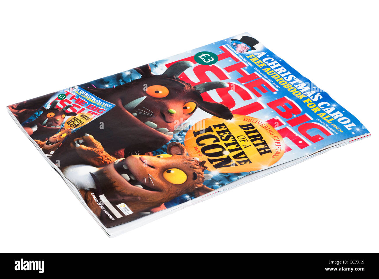 A Christmas special edition of The Big Issue magazine on a white background - Stock Image