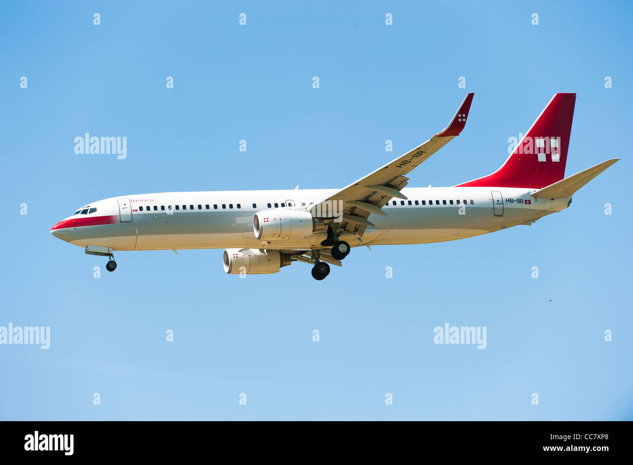 ZURICH, SWITZERLAND - MAI 24: Private Air (HB-IIR) airplane lands at Zuerich airport (Switzerland) Mai 24, 2010 - Stock Image