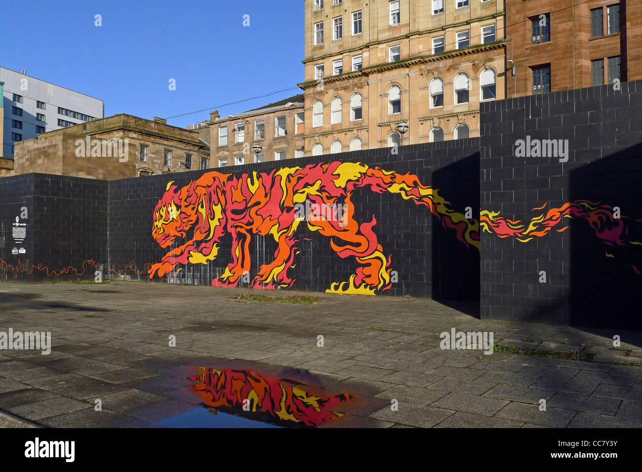The Tiger Lucky Eight artwork at the River Clyde in Central Glasgow Scotland - Stock Image