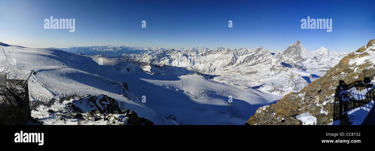 panorama from kl. matterhorn with matterhorn and mont blanc, zermatt, switzerland - Stock Image