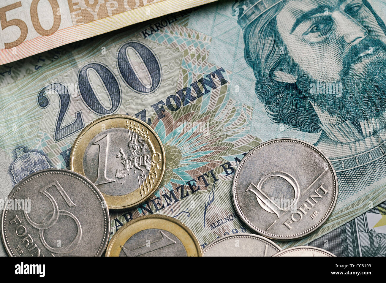 Forint and Euro Currencies of Hungary and the EU. - Stock Image