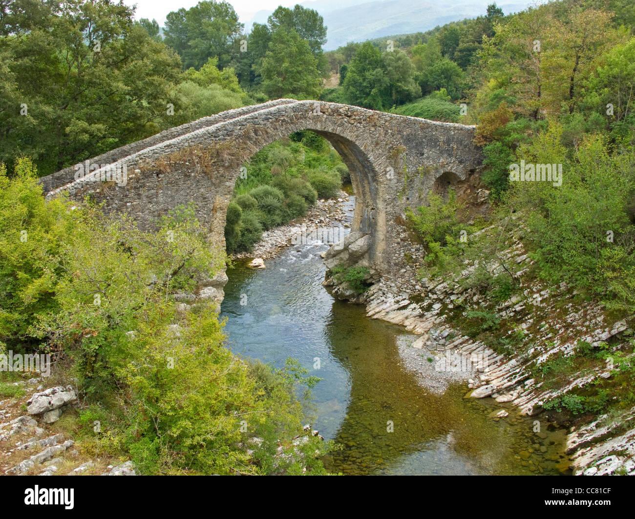 Medieval bridge, Ponte Medievale, on Calore River near Felitto in Cilento National Park, province of Salerno, Campania, Stock Photo