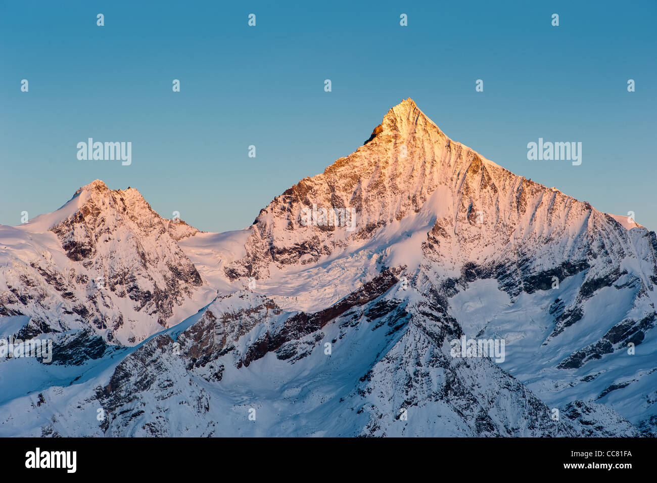 Weisshorn mountain peak at sunrise, view from Gornergrat, Zermatt, Switzerland Stock Photo