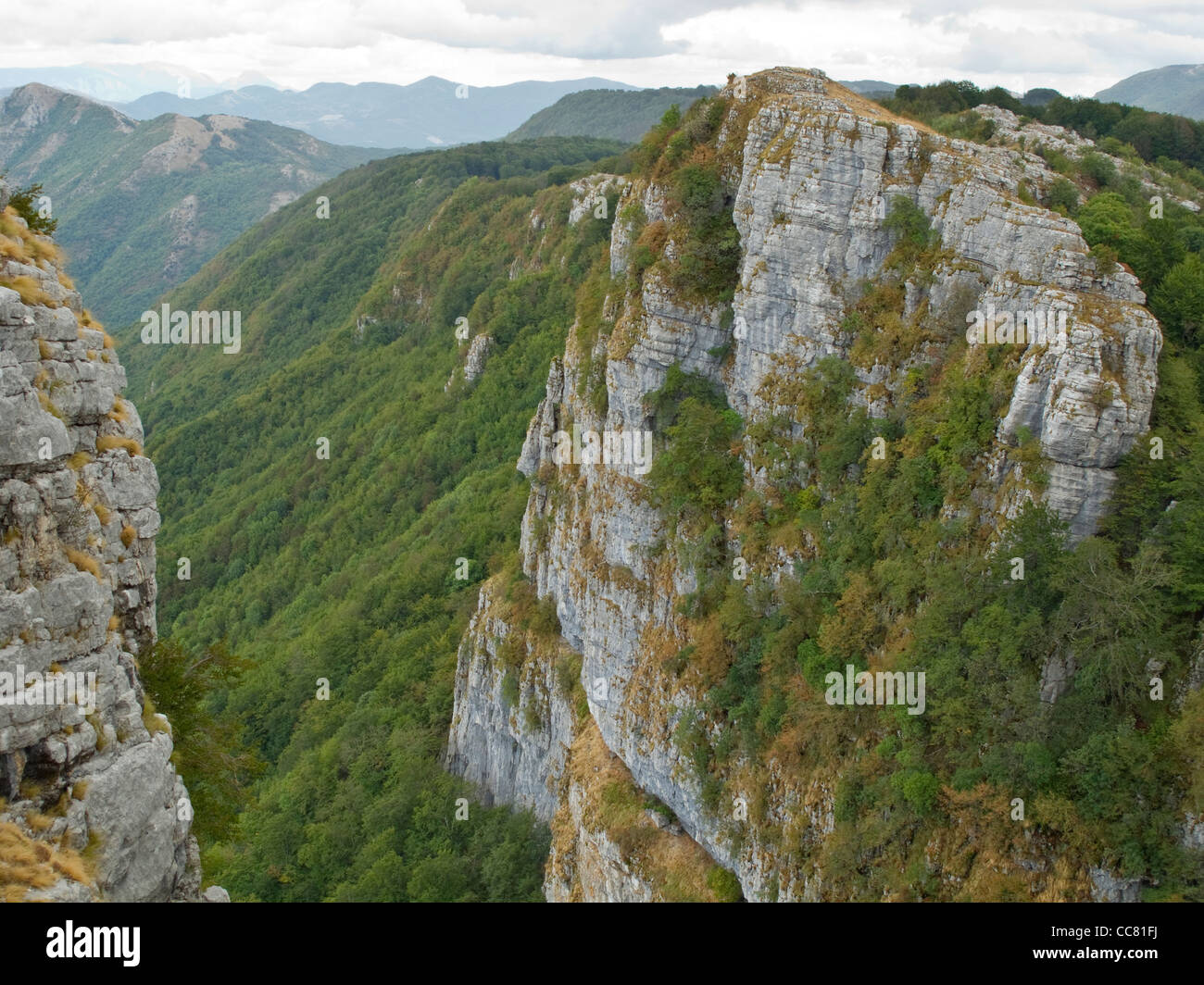 Limestone cliffs in Alburni mountains, in Cilento National Park, province of Salerno, region of Campania, Southern - Stock Image