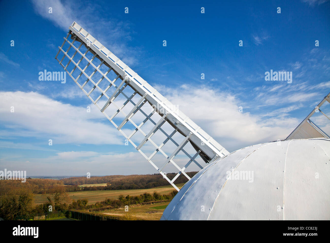 Common sail furled, and cap, of Wilton Windmill, a tower mill and the only working windmill in Wessex in Wiltshire, - Stock Image