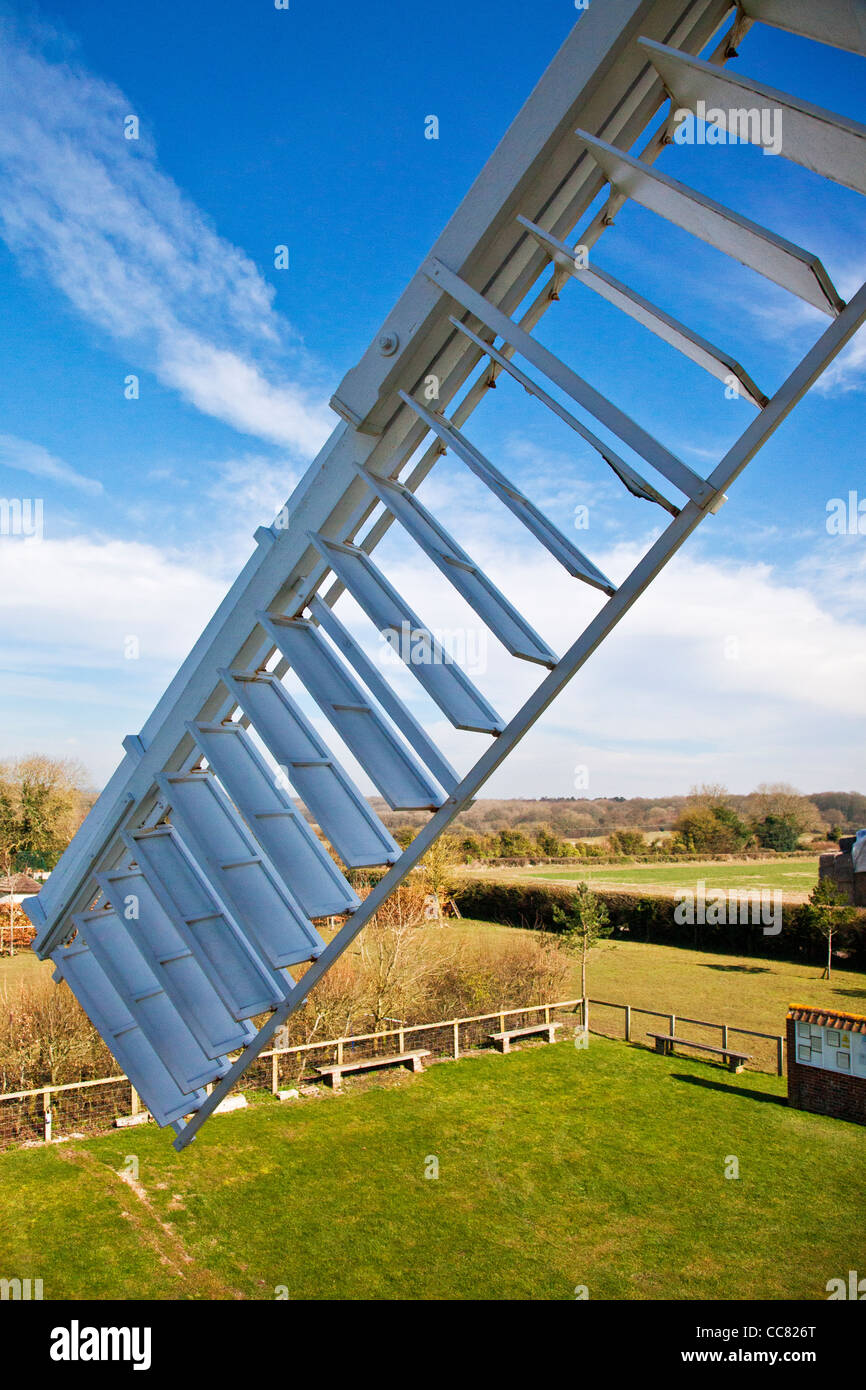 Patent sail of Wilton Windmill, a tower mill and the only working windmill in Wessex, at Great Bedwyn, Wiltshire, - Stock Image
