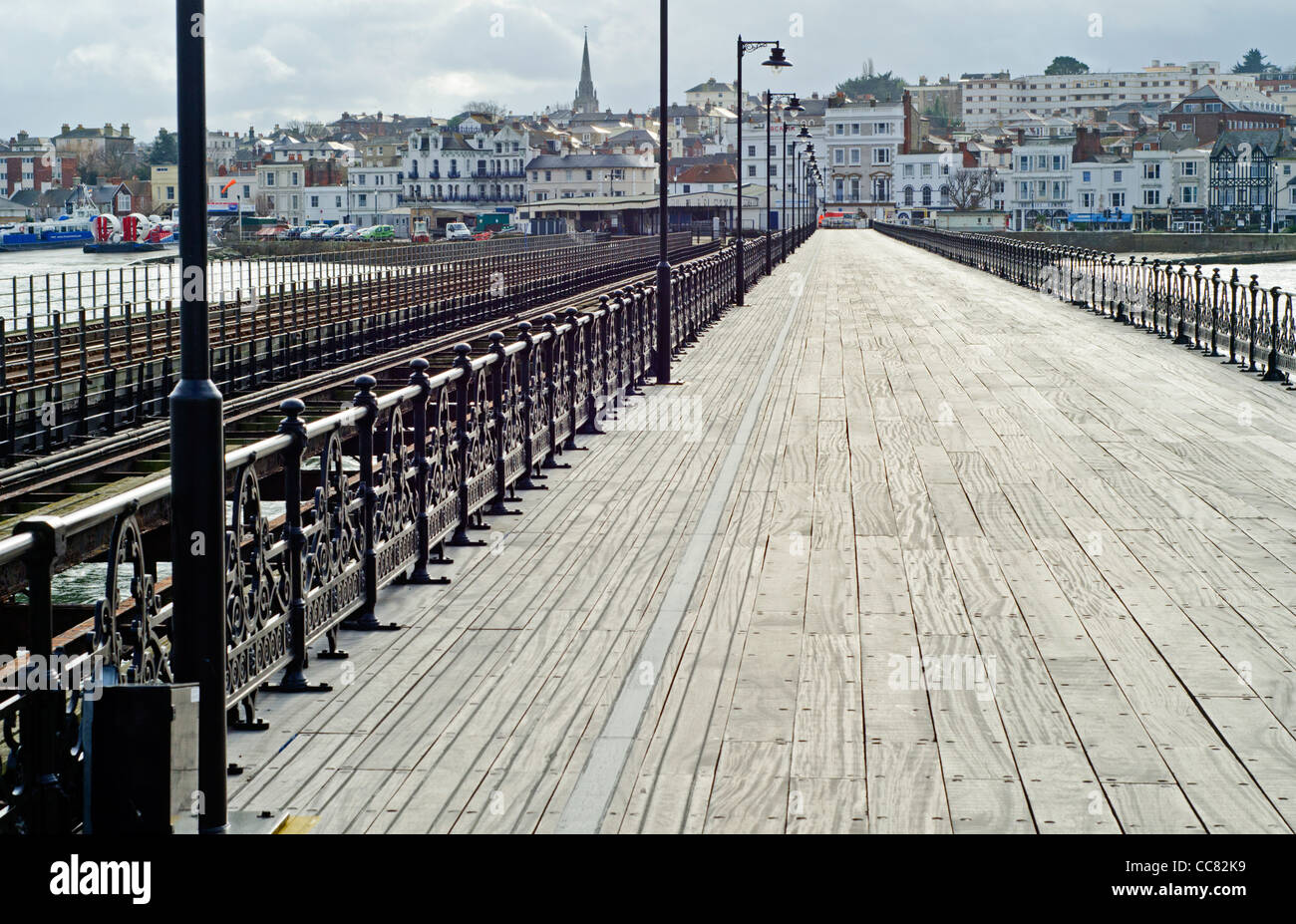 Ryde Pier, the long British wooden pier at Ryde, Isle of Wight, England, UK. - Stock Image