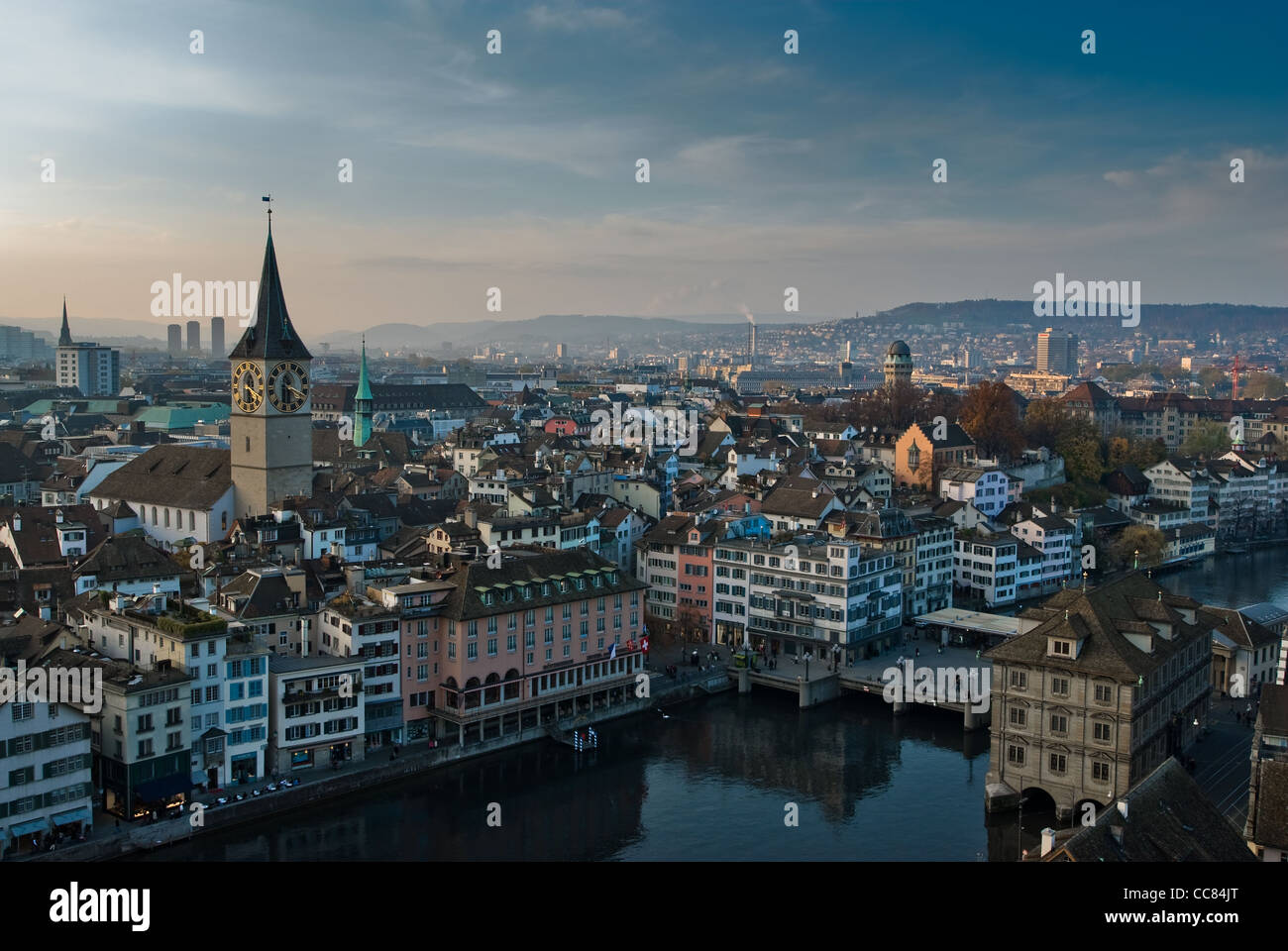 View from Grossmuenster over Zürich, Switzerland. - Stock Image