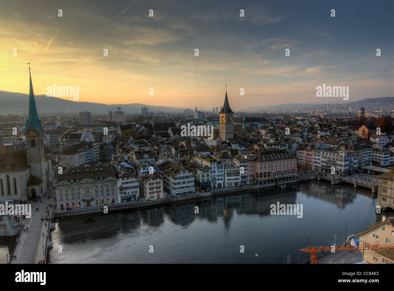 View from Grossmuenster, Zürich, Switzerland. - Stock Image