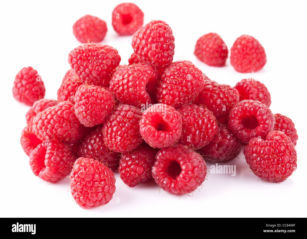 Ripe raspberries isolated on a white background. - Stock Image