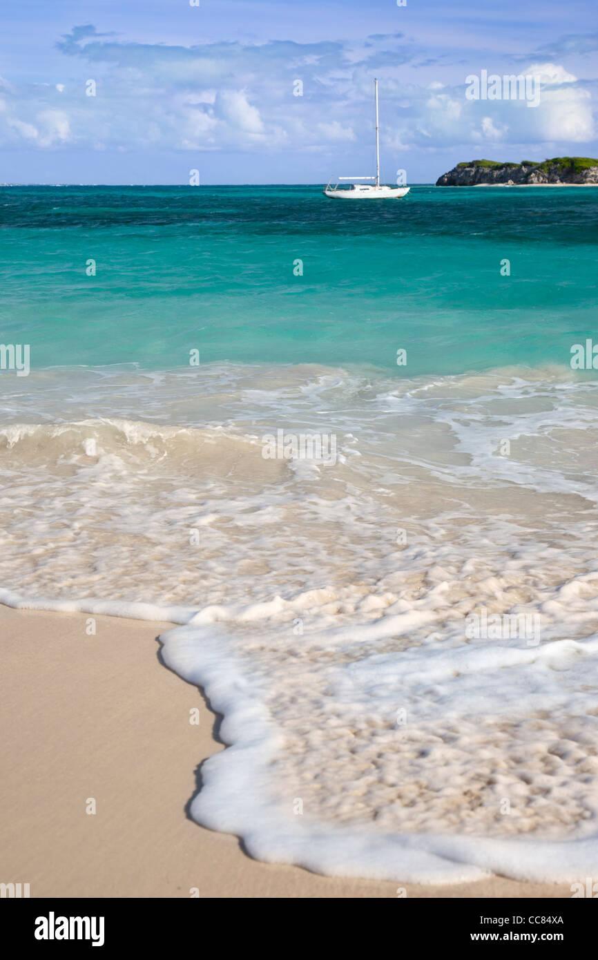 Sailboat Anchored off Orient Beach, St. Maarten, West Indies - Stock Image