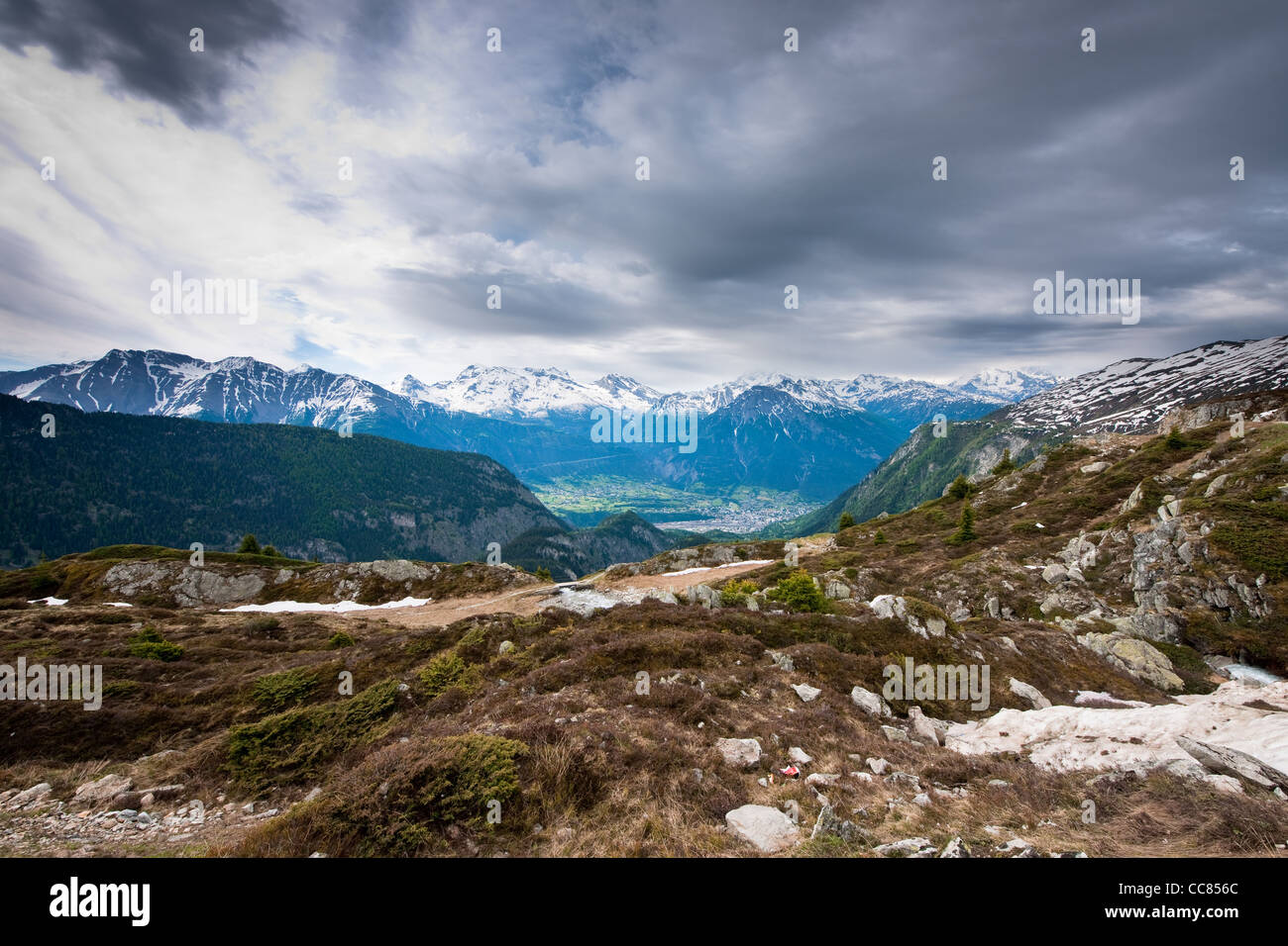 scenic view from belalp, wallis, switzerland on a gray day - Stock Image