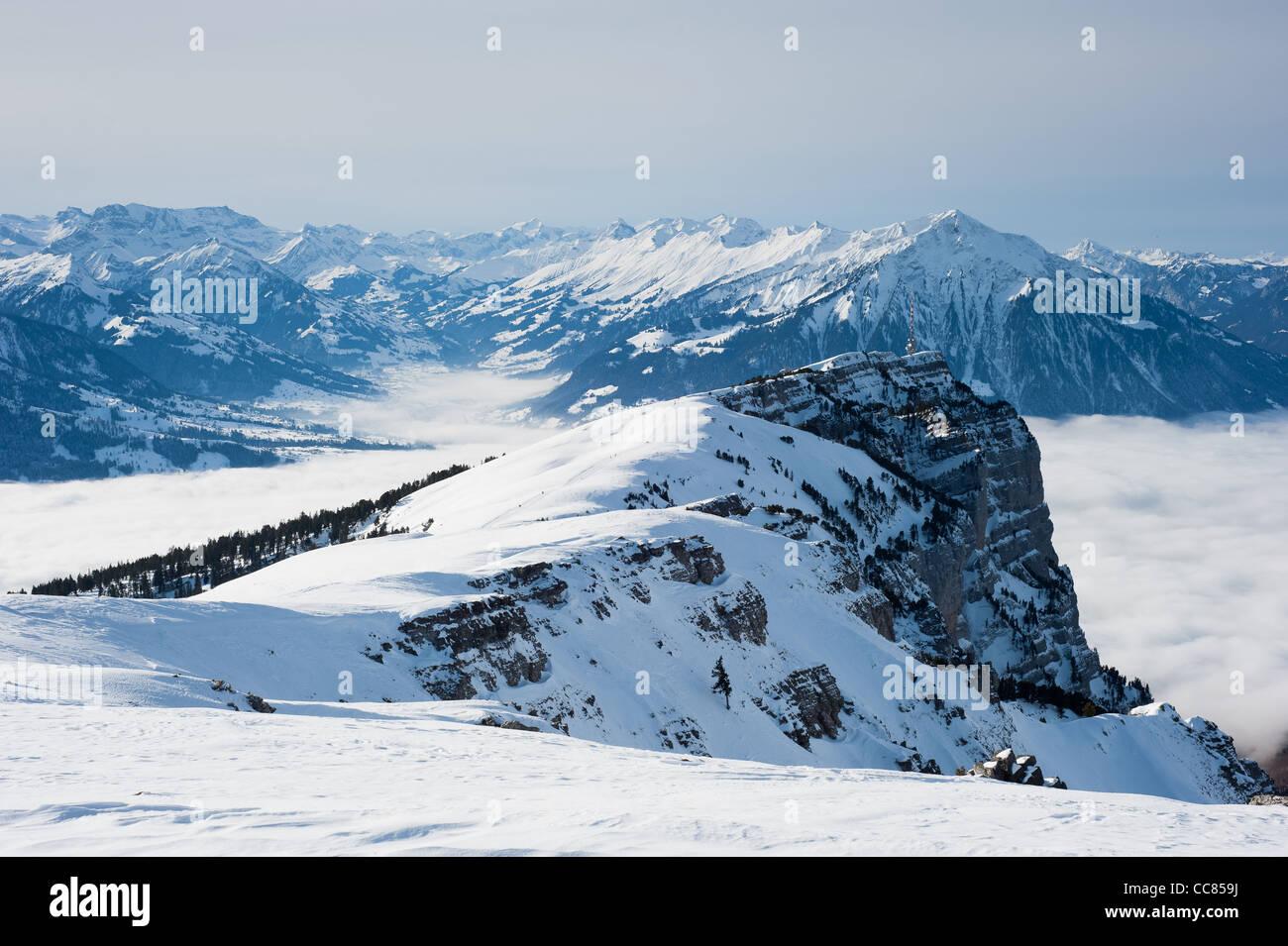 View from Burgfeldstand/Niederhorn in winter, Berner Oberland, Switzerland - Stock Image