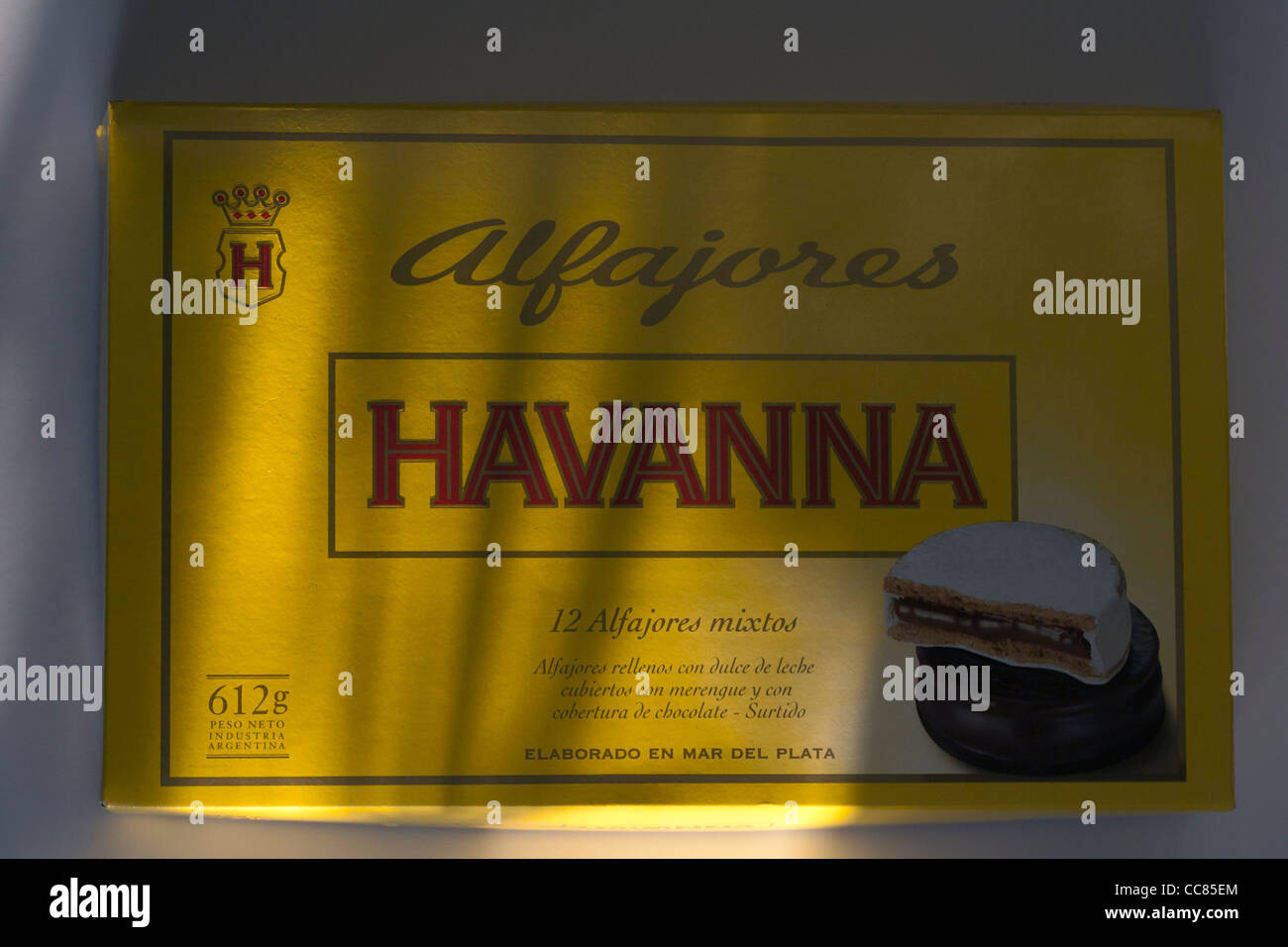 Box of Argentinian alfajores by famous manufacturer Havanna Stock Photo