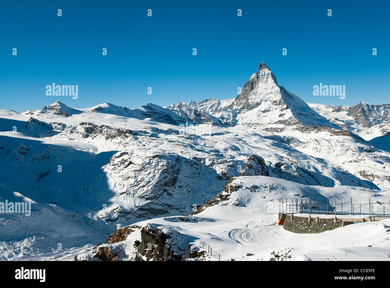 Scenic view of Matterhorn from Gornergrat in Winter, Zermatt, Wallis, Switzerland - Stock Image