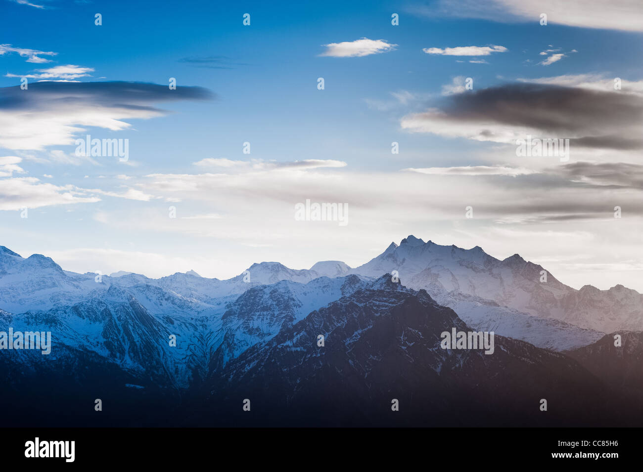 Scenic view of the Mischabel mountain range from Bettmeralp, Wallis, Switzerland - Stock Image