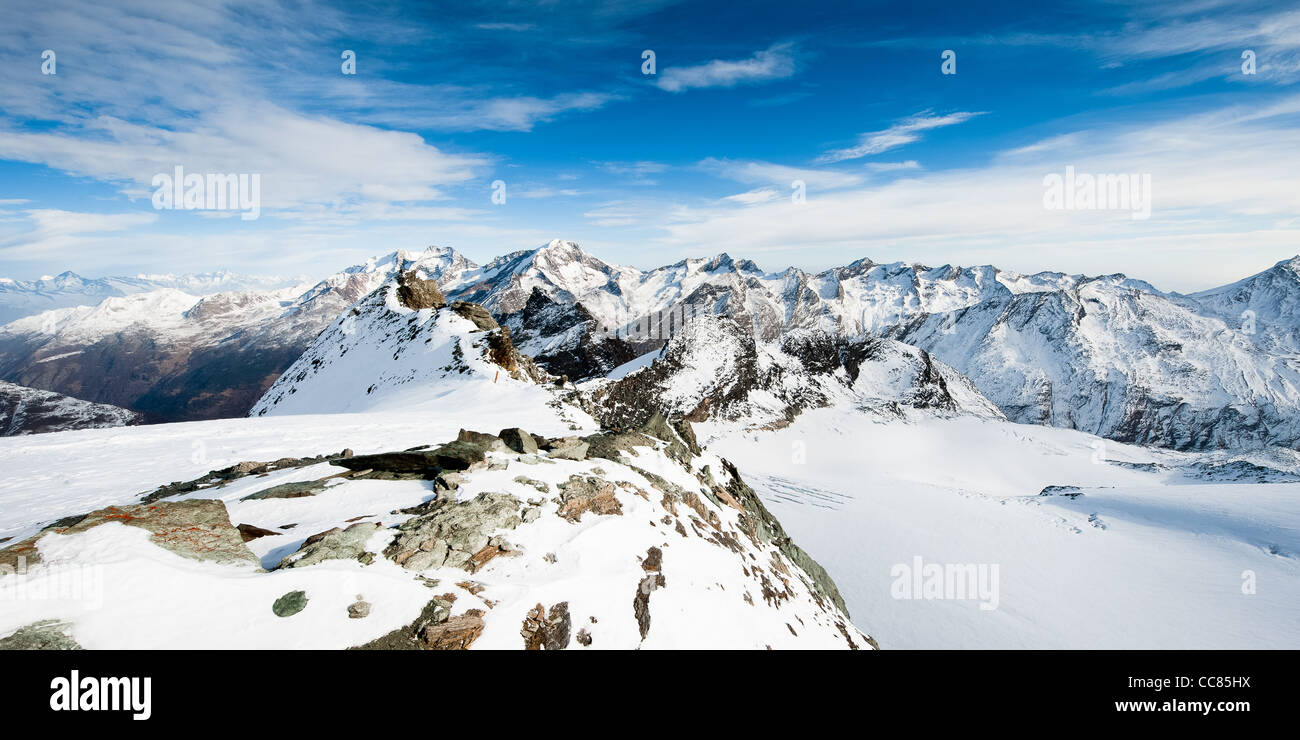 Mountain panorama from Mittelallalin above Saas Fee, Wallis, Switzerland - Stock Image