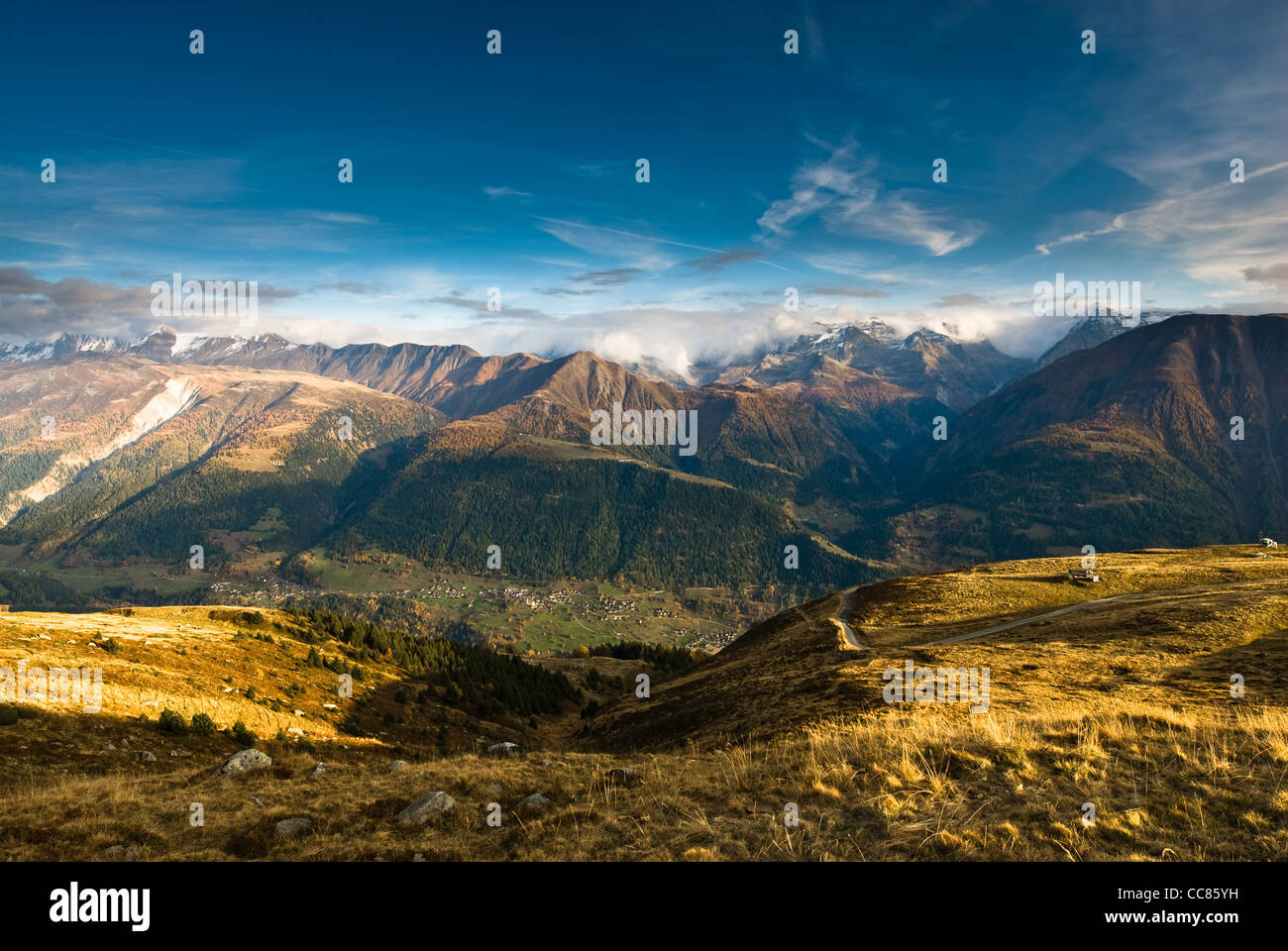 View from fiescheralp, wallis, switzerland at sunset. Stock Photo
