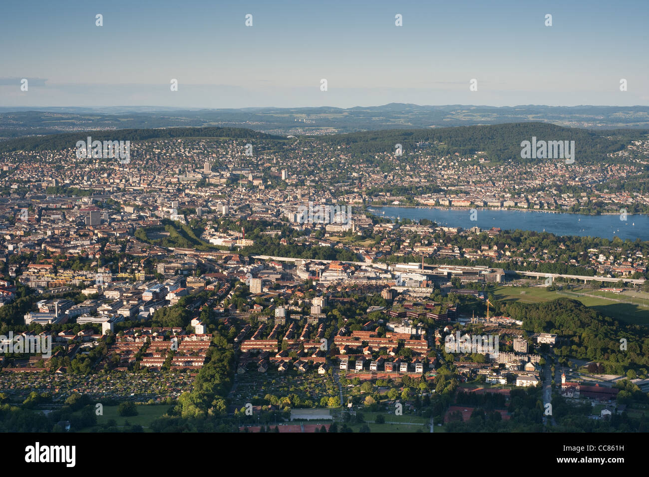 aerial view of zurich city taken from uetliberg on a clear day - Stock Image