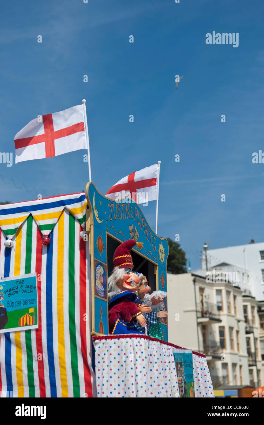 Punch and Judy show. Viking Bay beach. Broadstairs. Isle of Thanet. Kent. England. UK. Stock Photo