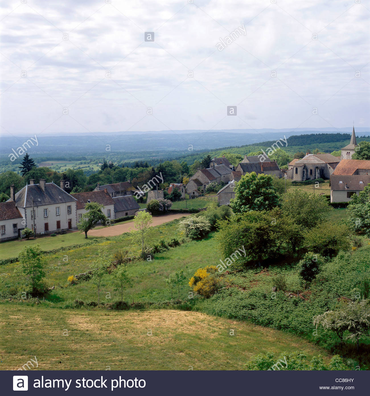 View of Toulx-Sainte-Croix, Creuse, Limousin, France - Stock Image