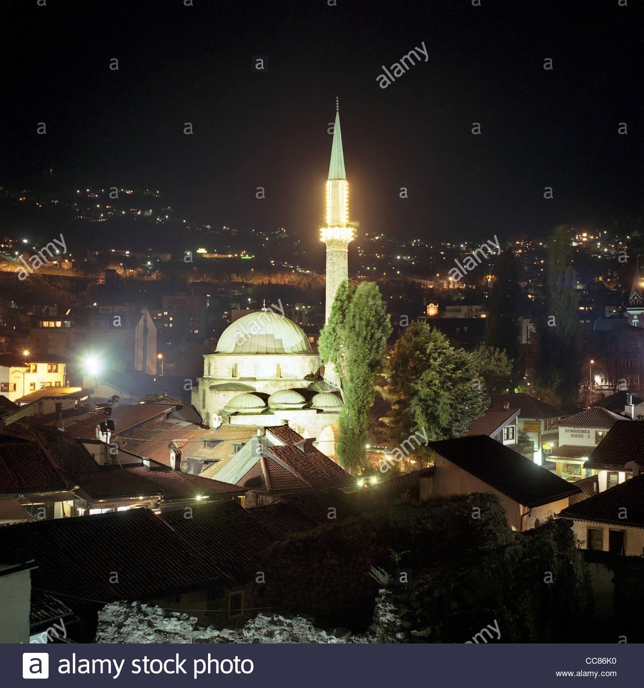 The Gazi Husrev-bey Mosque at night, Sarajevo, Bosnia and Herzegovina Stock Photo