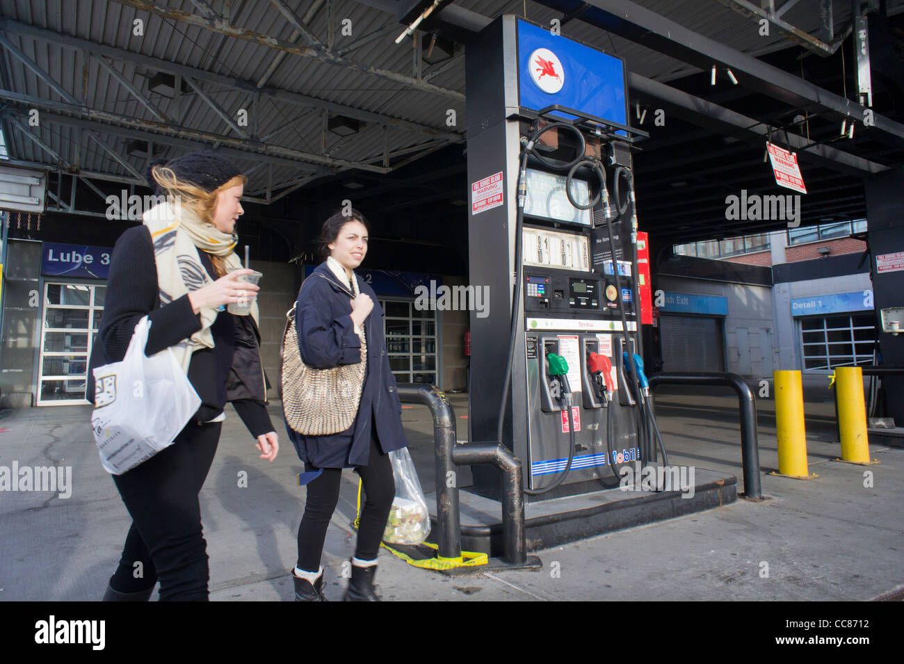 The closed Exxon Mobil station in West Chelsea in New York - Stock Image